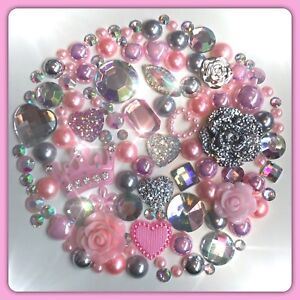 Crown Theme Pink Silver & Aurora Borealis Cabochons Gems Pearls flatbacks #4