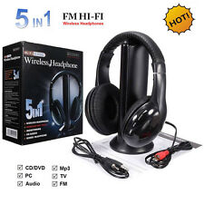 Wireless 5 in 1 Stereo FM Radio Strong Signal Headphone Cordless Headset for TV