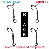 10 X *BLACK* Ronnie Rigs hair rigs TEFLON hooks carp rigs fishing pop up tackle