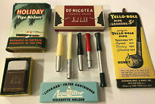 Vintage Smoking Lot - Cigarette Holders,Holiday Pipe Mixture Tobacco Tin,Filters