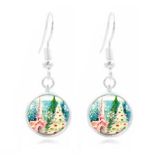 16Mm Glass Cabochon Long Earrings #439 Pink Aqua Xmas Tibet Silver Dome Photo