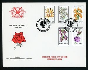 Kenya Scott #621-625 FIRST DAY COVER Orchids Plants FLORA $$