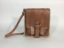 Vintage 1970's BoHo CHUI tooled leather satchel bag w/adjust strap & horn piece