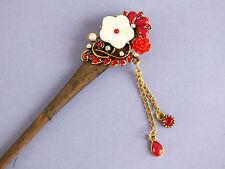 Flor japonesa Blanco Rojo De Madera Palo para pelo Palillos chinos Boda Fiesta U2