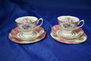 Royal Albert Lady Carlyle Bone China 2x Trio Sets (Cups, Saucers, Plates) LOT C