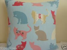 "16"" NEW CUSHION COVER CLARKE FELIX FUNKY CATS KITTENS SHABBY BLUE PINK VINTAGE"