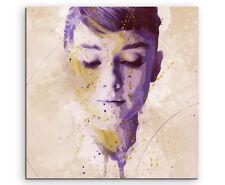 Audrey Hepburn Splash 60x60cm Kunstbild als Aquarell auf Leinwand