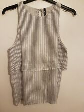 INFLUENCE - Ladies Womens Girls White & Blue Striped Sleeveless Top Size 14