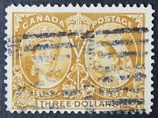 CKStamps: Canada Stamps Collection Scott#63 $3 Jubilee Used Tiny Thin CV$1100