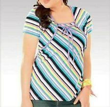 Free Postage-BNWT Ladies Petite Multicolour Layered Striped S/sleeve Top 16-18