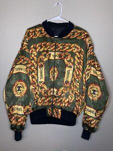 VTG 80s Chanel Chain Bomber Jacket Silk Logo All Over Print Gold size L RARE 90s