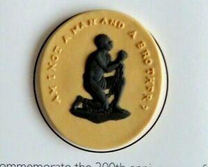 VINTAGE WEDGWOOD YELLOW JASPERWARE MEDALLION. ABOLITION OF THE SLAVE TRADE C2007
