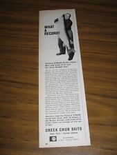 1960 Print Ad Creek Chub Baits Fishing Lures 65 lb Muskie Delmar,NY