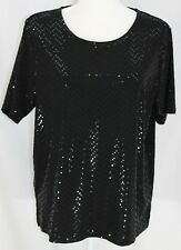 NWOT Bon Worth Women's MP Beautiful Black SS Stretch Sparkle Dot Dressy Blouse