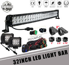 "4"" PODS OFFROAD +32Inch 180W LED Light Bar Combo +bracket RZR SUV 4WD Ford 5020"
