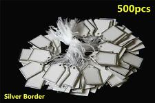 500pcs White Paper String Price Tag Tie Silver Border Label Jewellery Display