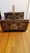 Vintage Wooden Woven Magazine/Newspaper/Flower Basket With American Eagle