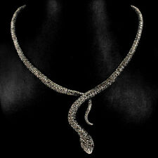 Sterling Silver 925 Genuine Natural Marcasite Encrusted Snake Necklace 171/2 In