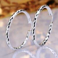 Women Sterling Silver Plated Medium Size Diamond-Cut Round Hoop Fashion Earrings