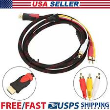 1080P HDMI to 3 RCA Video Audio Cord Component AV Adapter 5Ft Cable HDTV USA