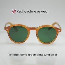 49mm Vintage Sunglasses Mens Johnny Depp Eyeglasses Blonde Round G15 Glass Lens