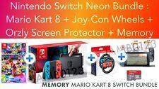 Nintendo Switch Console Neon + MARIO KART + Wheels + Protector + Memory *BUNDLE