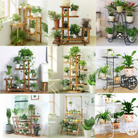 Garden Multi Tier Pine Wood Metal Bamboo Plant Stand Flower Pot Rack Shelf Home