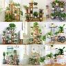 Garden Multi Tier Pine Wood Metal Bamboo Plant Stand Flower Pot Rack Shelf Home
