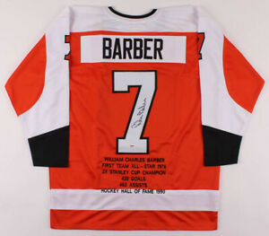 Bill Barber Signed Career Highlight Stat Philadelphia Flyers Jersey (PSA COA)