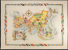 1951 - Scheda di Asia - Litografia di Liozu - Antico mappa of Asia