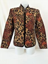 MOLLY & MAXX Gold Cheetah Leopard Print Zip Front Jacket Womens Size SMALL S NWT