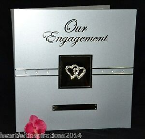 Our Engagement  - Silver Double Diamante Hearts -  Self Adhesive Photo Album
