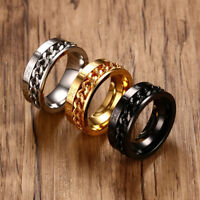 Men Ring Spinning Spinner Chain Roman Numerals Band Biker Anxiety Relief Jewelry
