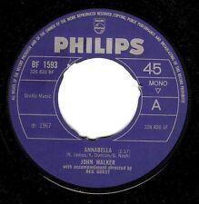 "JOHN WALKER Annabella 7"" Single Vinyl Record 45rpm Philips 1967 EX"