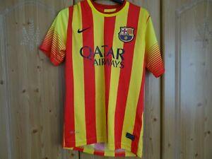 FC Barcelona Mens Away Shirt M 2013 2014 Football Jersey NikeYellow Red Stripe
