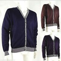 Cardigan Pullover Maglia Uomo TRICOT PROVENZALE D054 Blu Marrone Viola L XL XXL