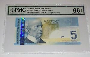 PMG CANADA BANK OF CANADA 2010 $5 Five Canadian Note Gem Uncirculated 66 EPQ