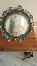 Antique brass free standing table mirror