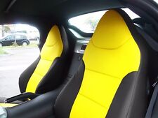 PONTIAC SOLSTICE BLACK/YELLOW LEATHER-LIKE CUSTOM MADE FIT FRONT SEAT COVER