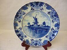Assiette Delft Holland peint à la main/ handpainted, Décor d'un moulin