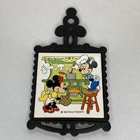 Vintage Disney Mickey and Minnie Mouse Metal Ceramic Tile Trivet Japan