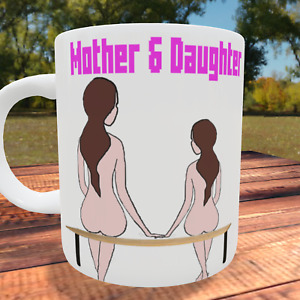 Mother and Daughter Mothers Day Gift sitting on a bench cartoon style love