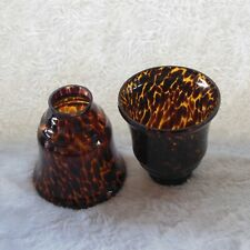Faux Tortoise Shell Pattern Lamp Light Shades Set of 2 Glass