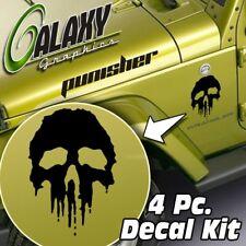 Jeep Wrangler Side Hood Decal Kit - Punisher Skull Matte Black Sticker TJ LJ JK