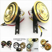 2 Pcs Golden Grille Compact Super Tone Holzer Electric Horn For Chevy GMC Pickup