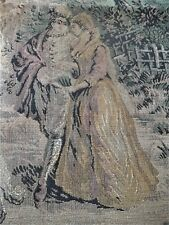 "Large Vintage Belgium Tapestry  Lovers at the Fountain 25x33"" Garden Scene"