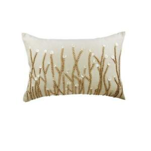 Jute And Mother Of Pearls 12x14 inch Art Silk Ivory Lumbar Pillow Cover - Amour