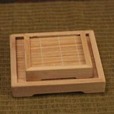 Bamboo Tea Cup Mat Coaster Kitchen Cup Bowl Holder Dish Tray Square S + L