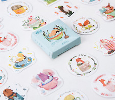 45 piece New Cartoon Animals In Cups Sticker lot For Craft Diary Scrapbook Album