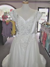 NWT MICHAELANGELO WEDDING DRESS WHITE W/ PEARLS & TULLE SIZE 18  PRINCESS LOOK